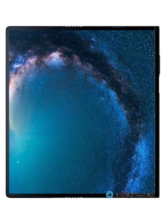 Fotografía grande Varias vistas del Tablet Huawei Mate X Azul. En la pantalla se muestra Varias vistas