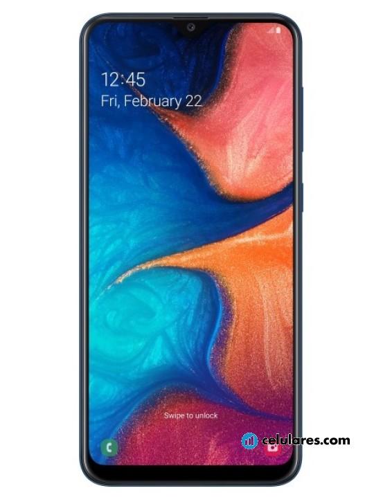 Fotografías Varias vistas de Samsung Galaxy A20 Azul y Negro. Detalle de la pantalla: Varias vistas